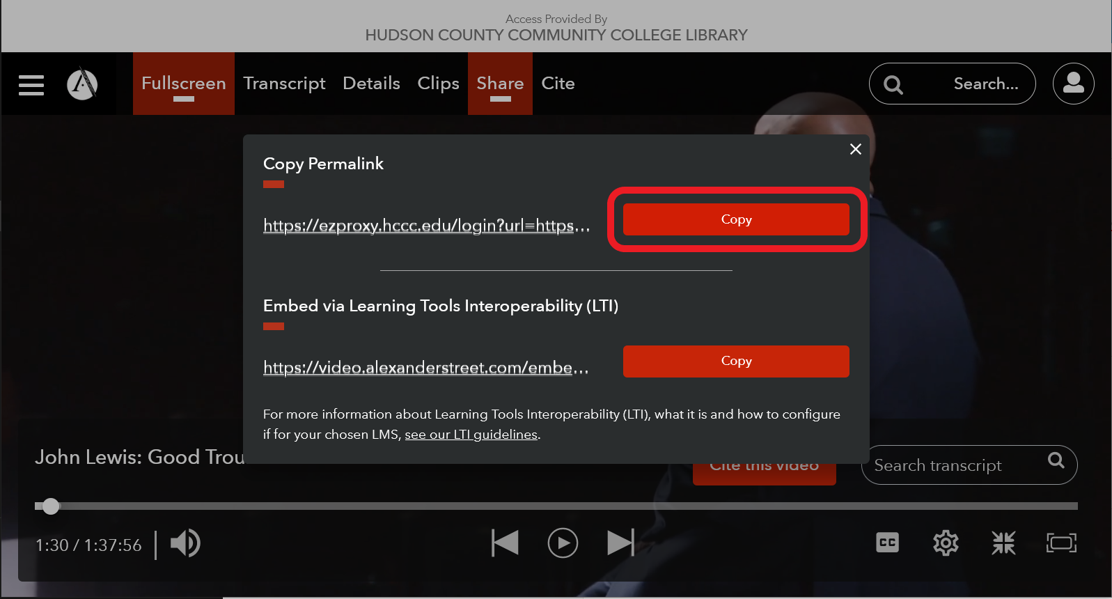 Screenshot of video on AVON with permalink menu open and the copy permalink button circled.