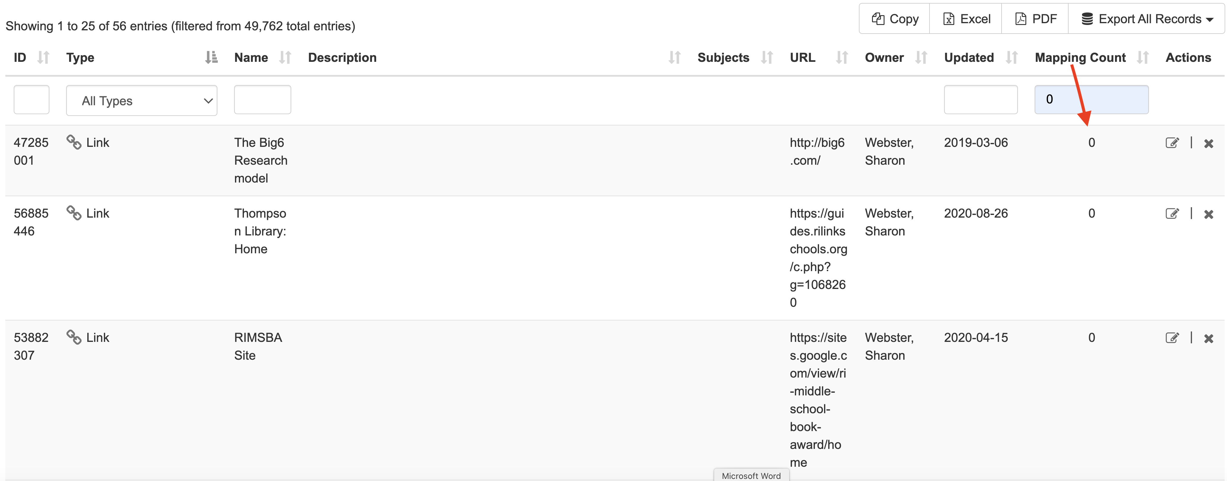 screenshot of unmapped assets