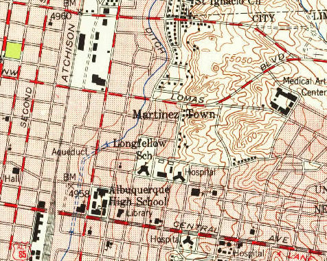 Map of Martineztown excerpted from 1954 USGS topographic map