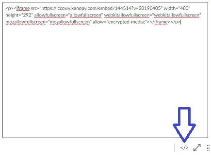 Screenshot for pasting embed code into Canvas