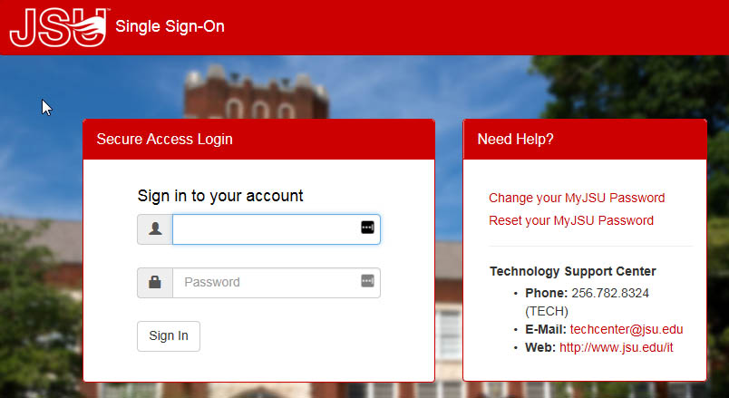MyJSU Login Screenshot