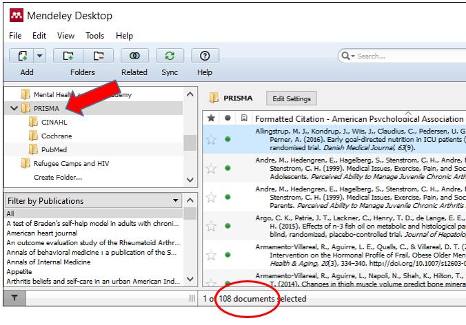 Mendeley Folders and document list