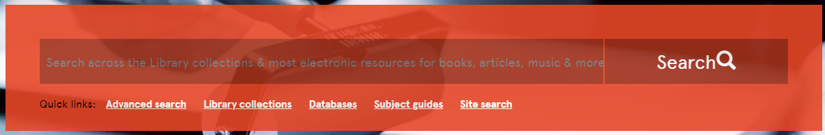 A picture of the Library Search box on the Library homepage