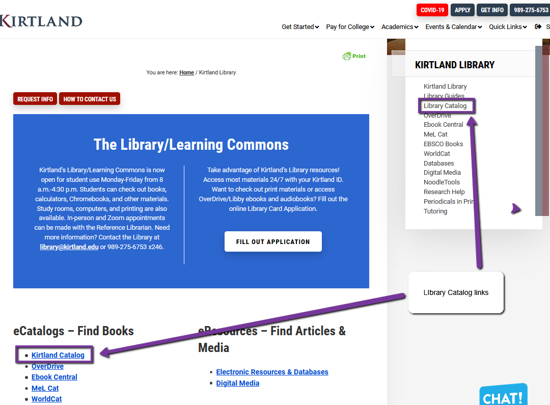 Library home page with catalog links