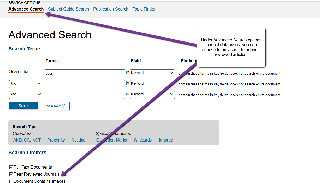 Image of advanced search page with arrows pointing to advanced search and peer reviewed options on the page.