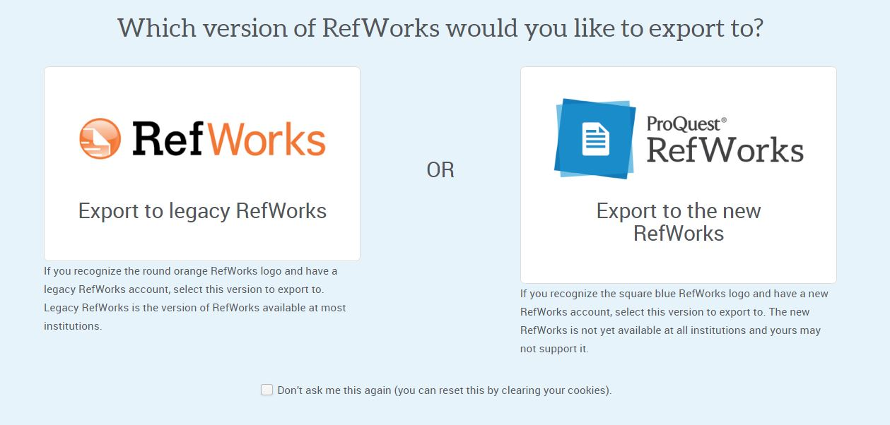Export to RefWorks from Library Database
