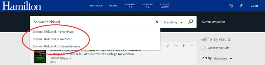 catalog search scope screenshot