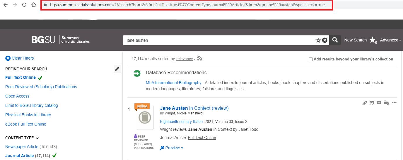 Screenshot of Summon search link