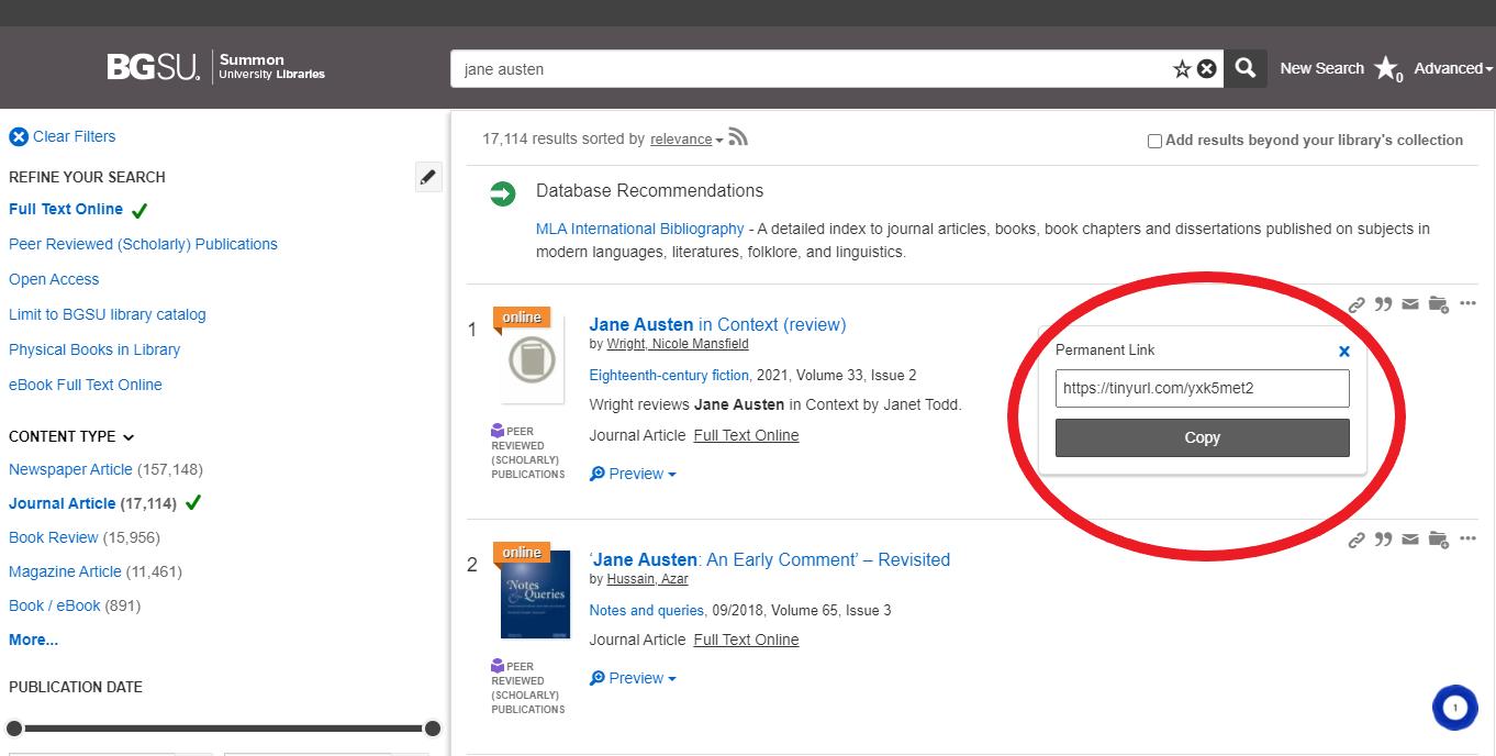 Screenshot of permanent link in Summon