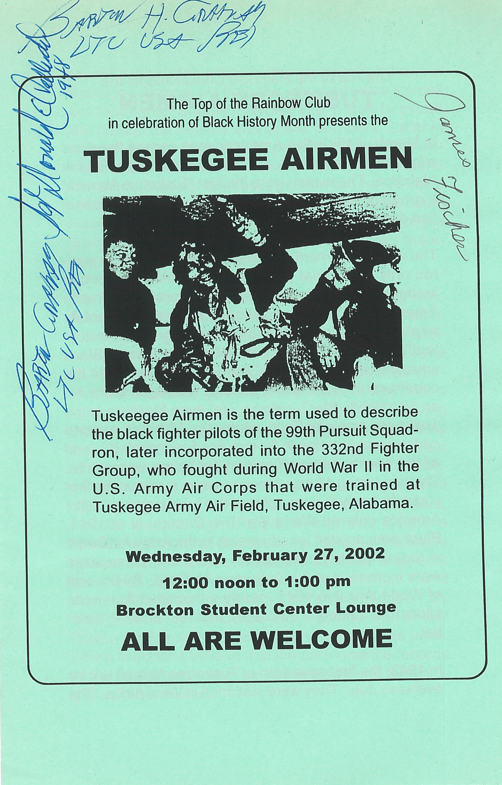 autographed Tuskegee Airmen Program February 2002