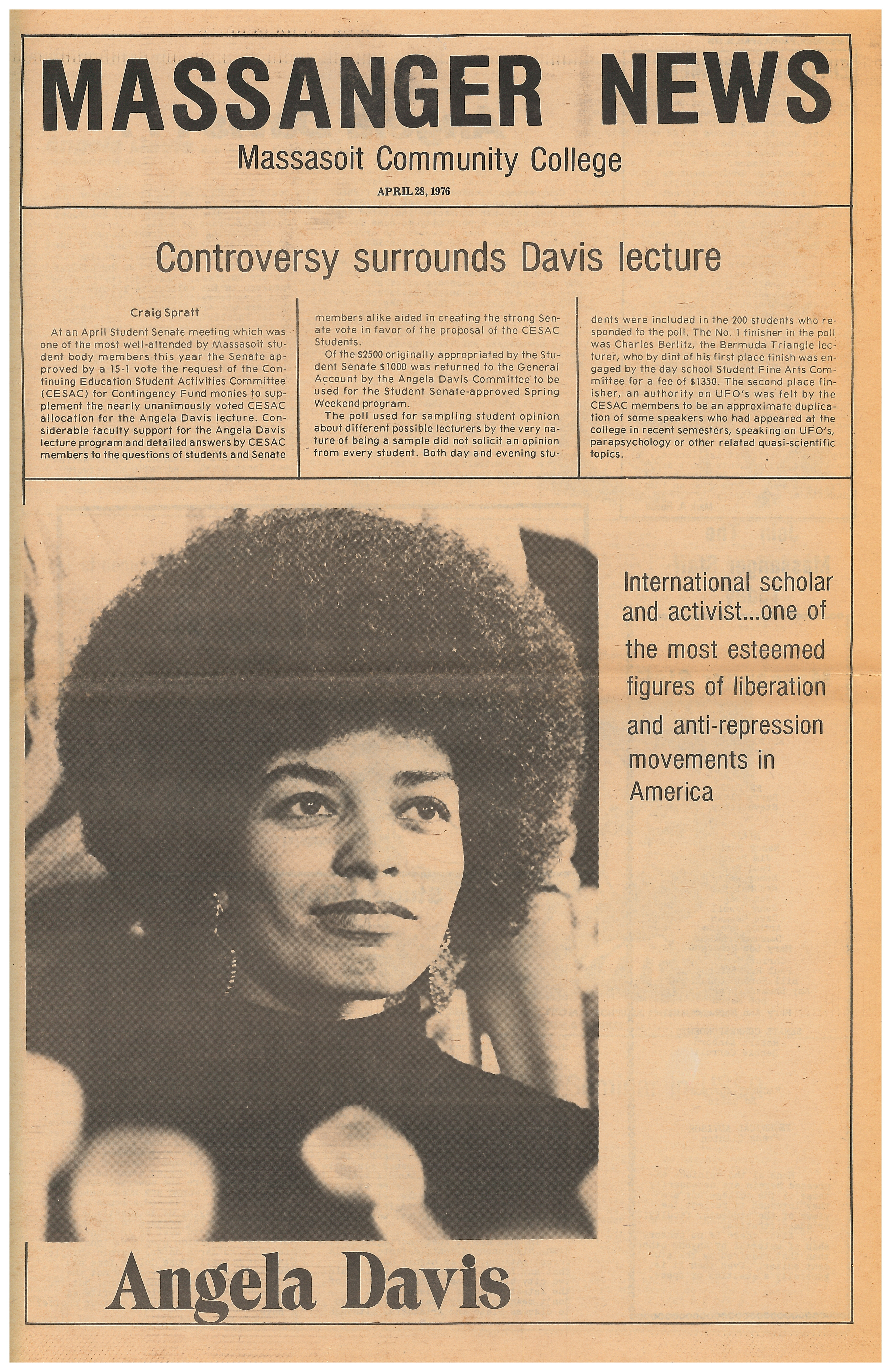 Massanger News article; Angela Davis