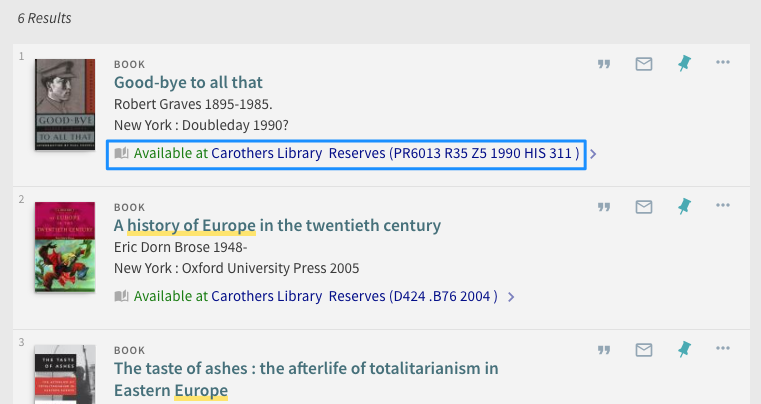 Screenshot of Libraries Search Results showing the call number for course reserves.