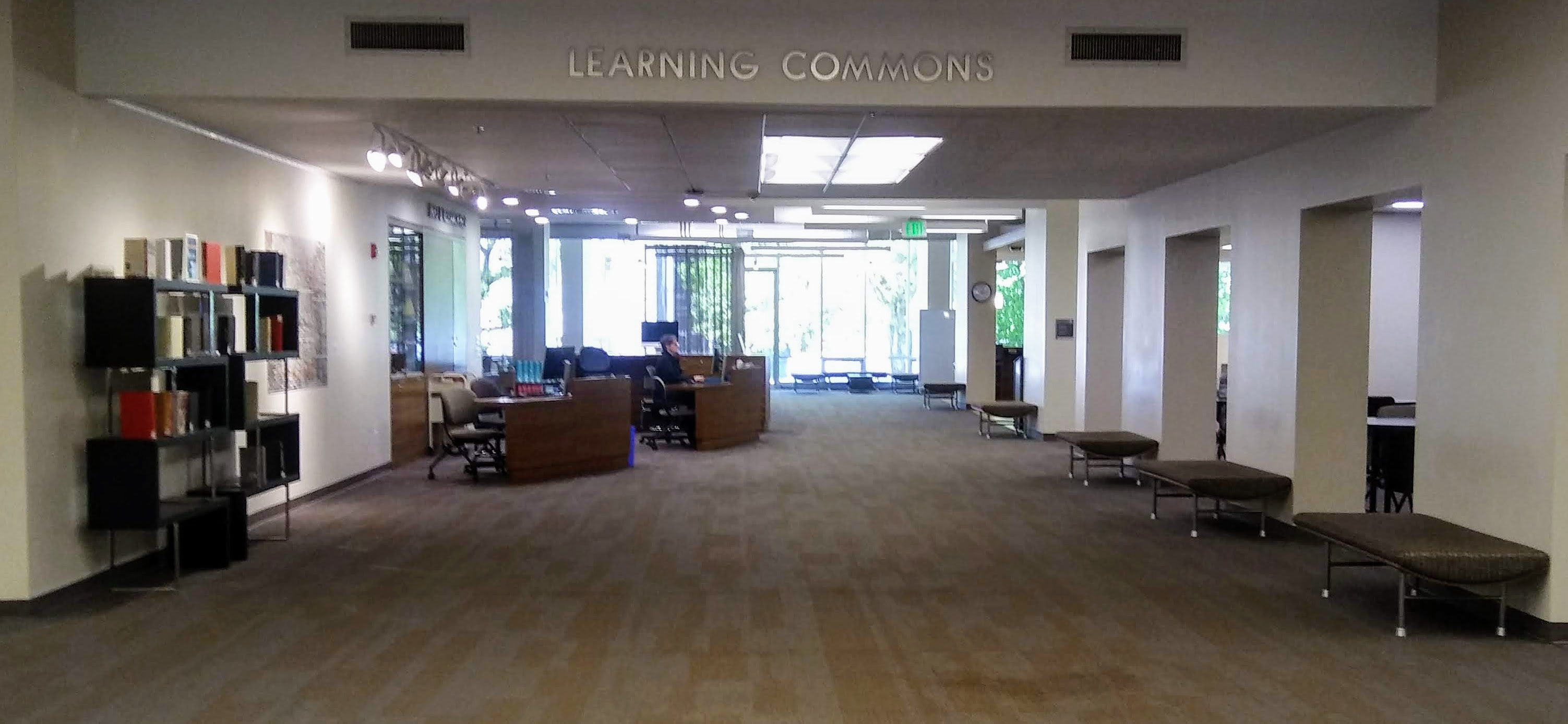 photograph of learning commons with Info & Research Help Desk on the left