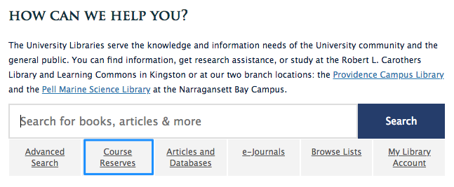 Location of Course Reserves Search on URI Libraries Web Page