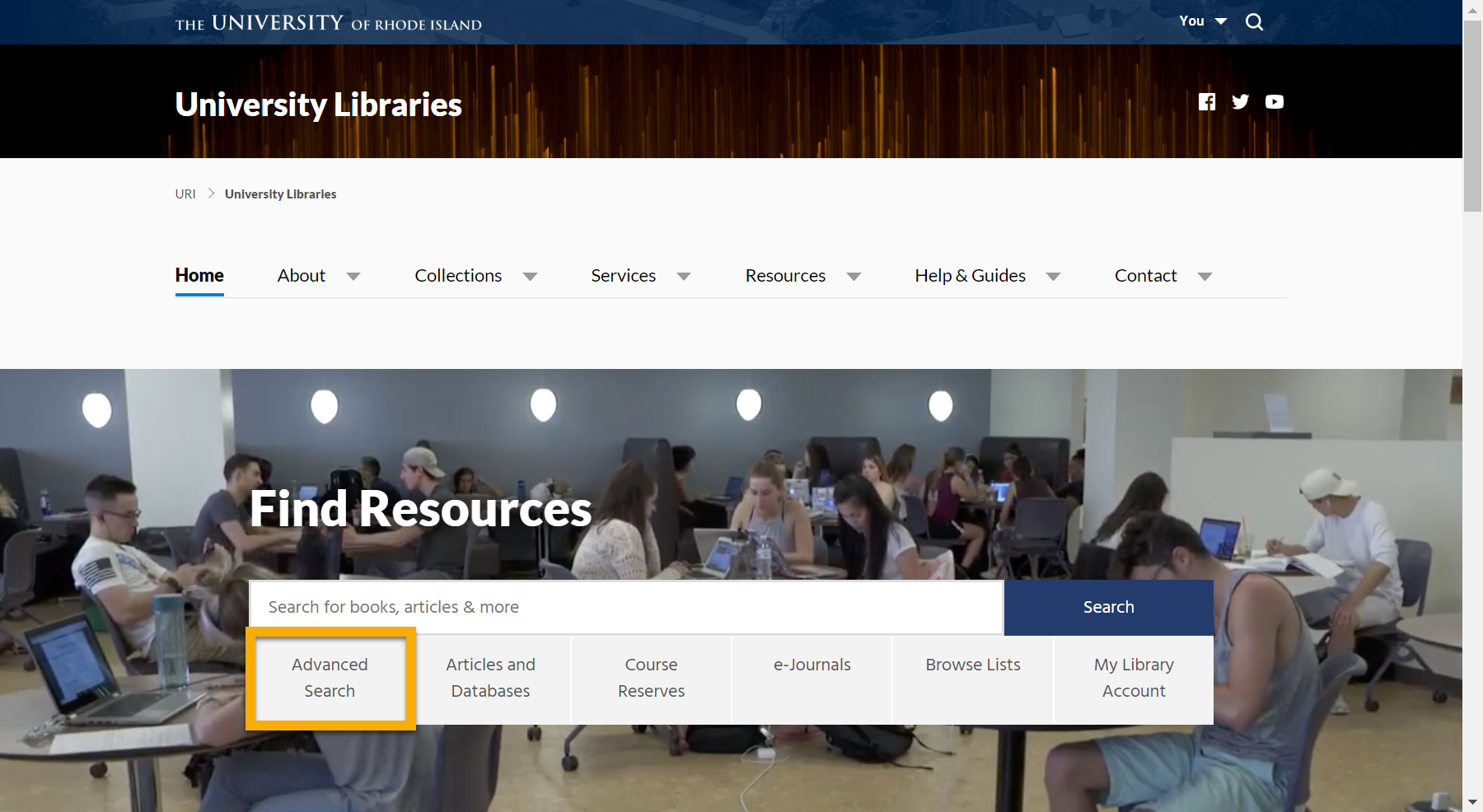 URI Libraries home page with the Advanced Search button highlighted