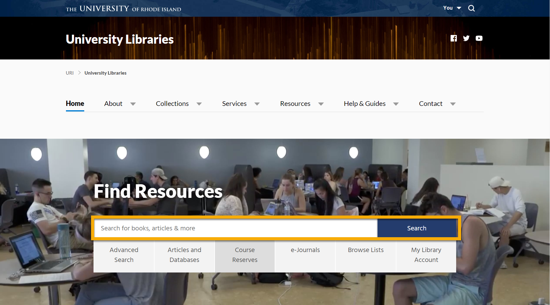 Library Home Page with Search Box Highlighted