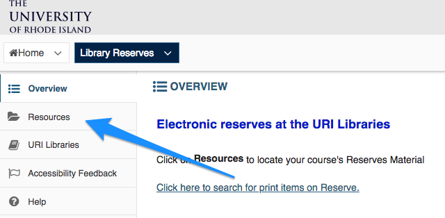 Resources link in left column of Reserves in Sakai.