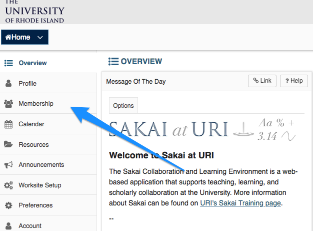 Location of Membership Link in Sakai