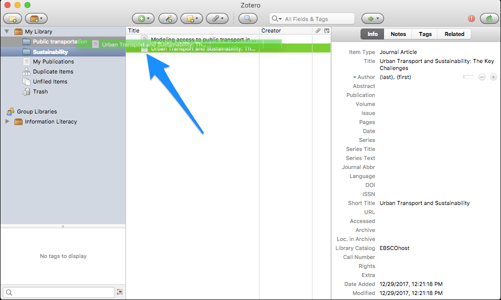 Screenshot of cursor hovering over destination folder after clicking and dragging a citation to the folder