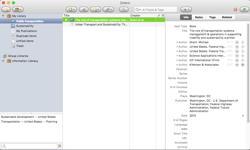 Zotero window with edit panel on the right displayed