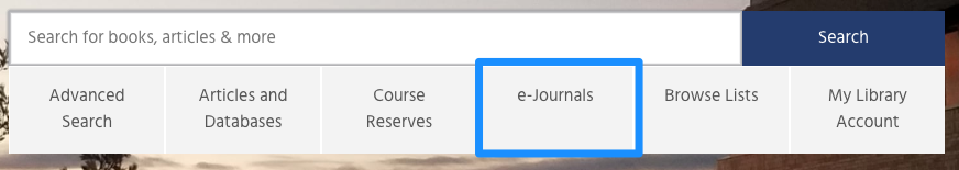 location of e-journals link on libraries' home page