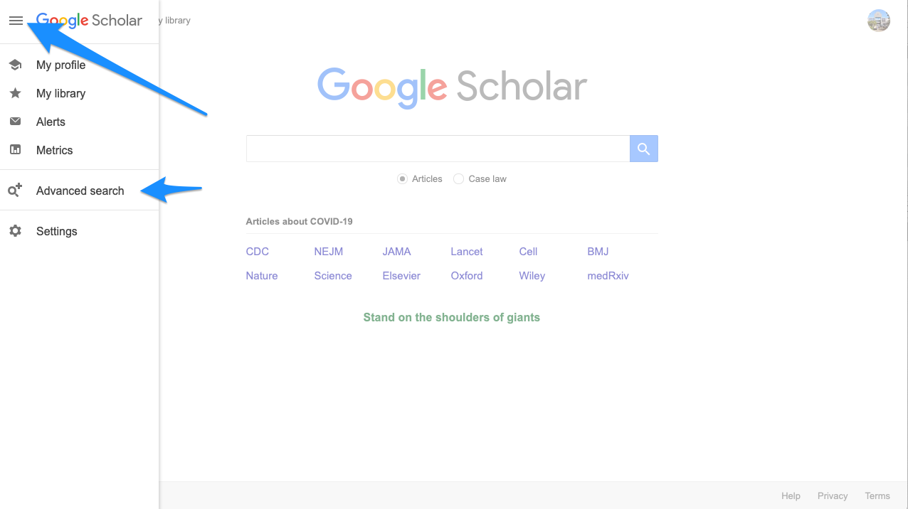Screenshot of Google Scholar showing the expansion menu in the upper left