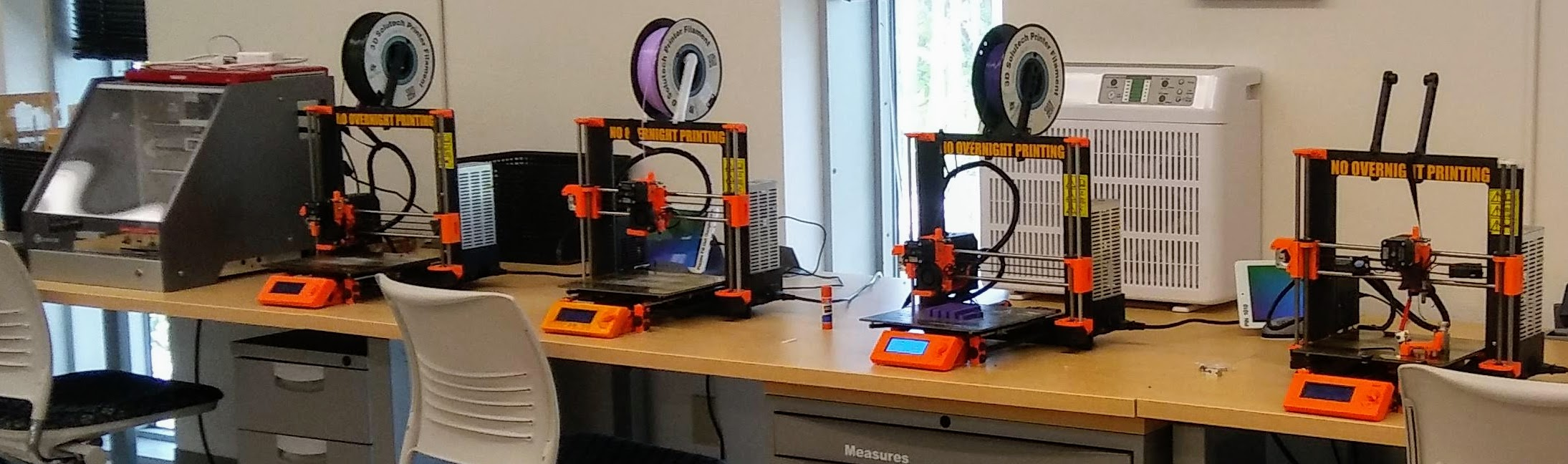 image of 3D printers in Makerspace