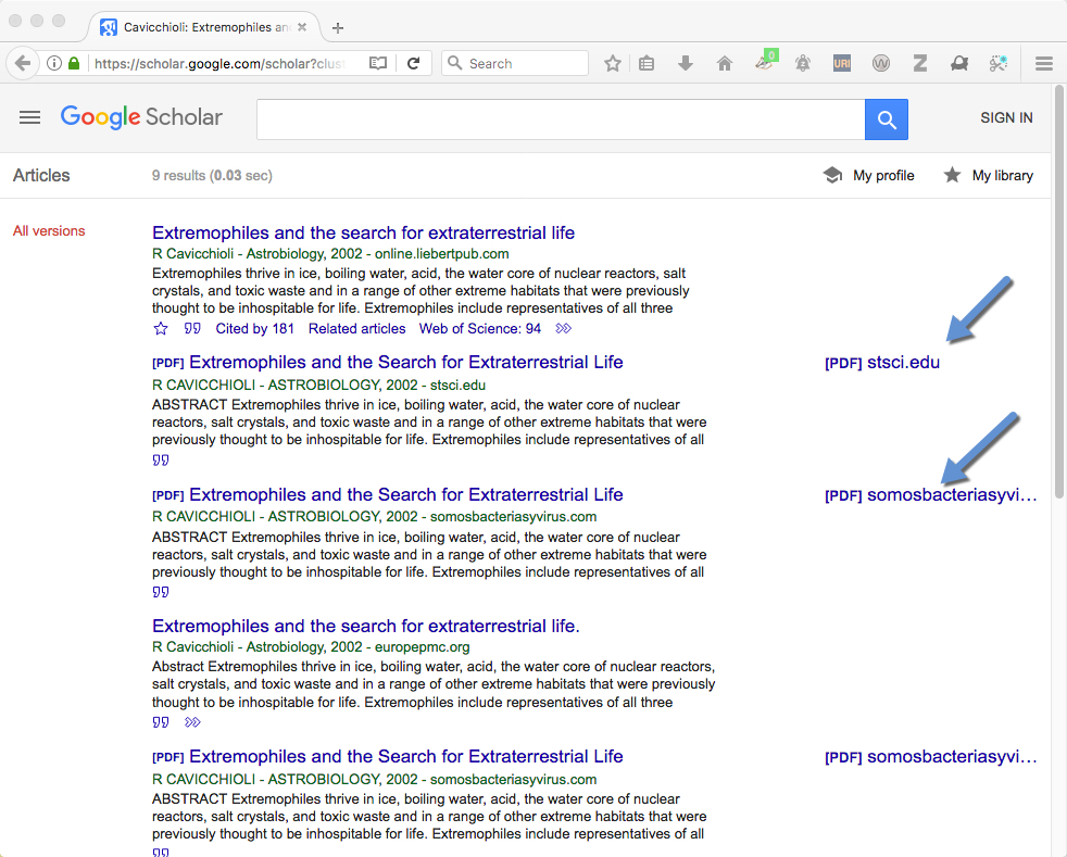 Results of clicking on All 9 Versions in Google Scholar