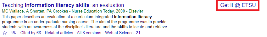 Example of Google Scholar Full text available