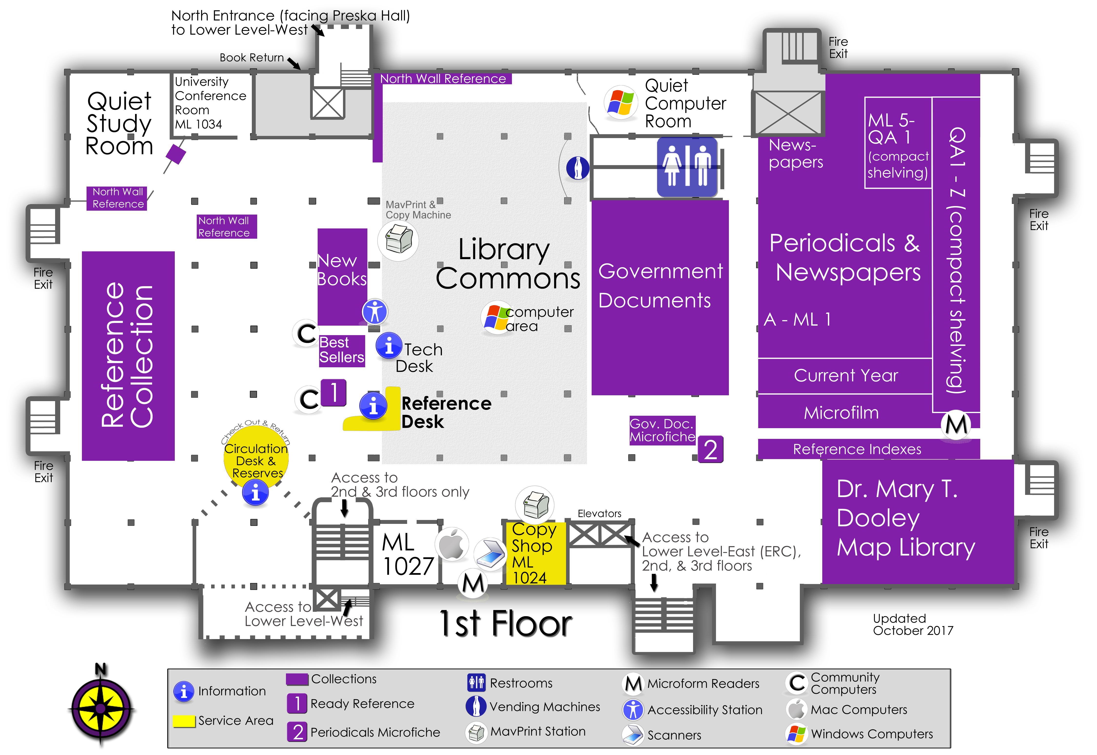 1st floor library map