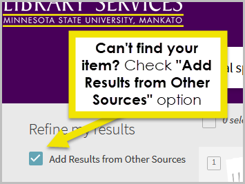 If you can't find your item check the Add Results from Other Libraries option