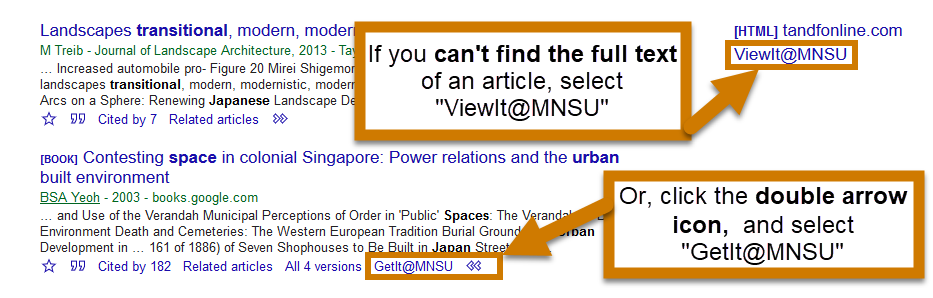the location of the view it at MNSU and get it at MNSU buttons on google scholar