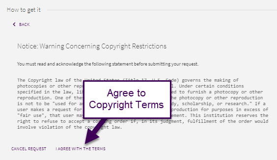 Agree to copyright terms