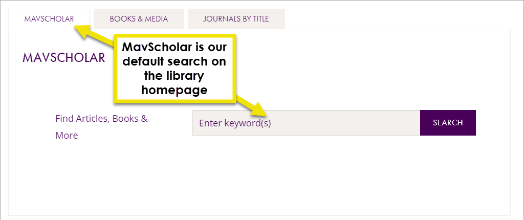 use the mavscholar search at the top of the library homepage to search for articles