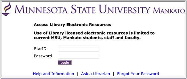 Library electronic resource login screen