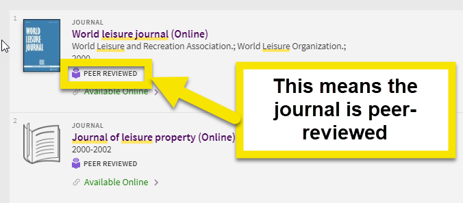 if the journal is peer reviewed it will have an icon saying peer reviewed.