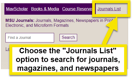 use the journals list search option on the mavscholar search box on the librarys main page.