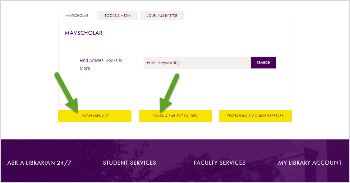 arrows pointing at the Article Databases and Class & Subject Guides buttons.