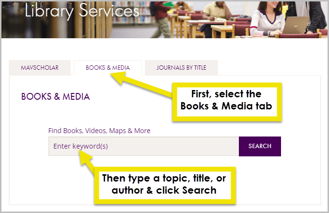 use the search bar under the books and media tab