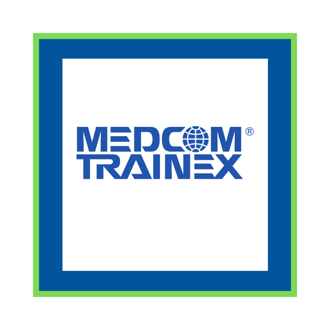 white square with blue and green trim with logos for Medcom