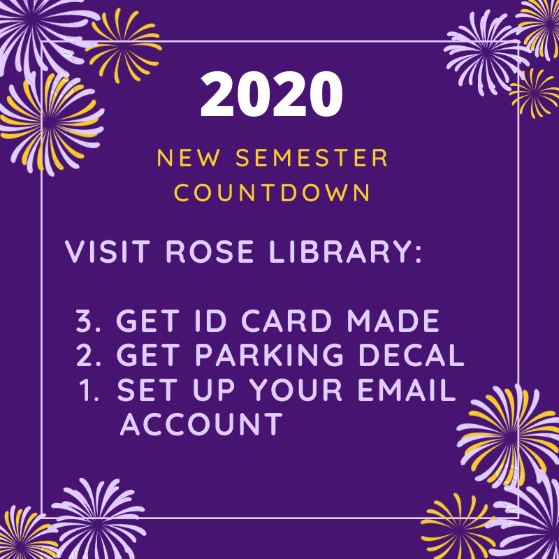 This annoucement tells users to visit the library for a parking decal, a student ID card and to set up email.