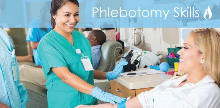 phlebotomy picture with nurse in green scrubs in the process of drawing blood from patient