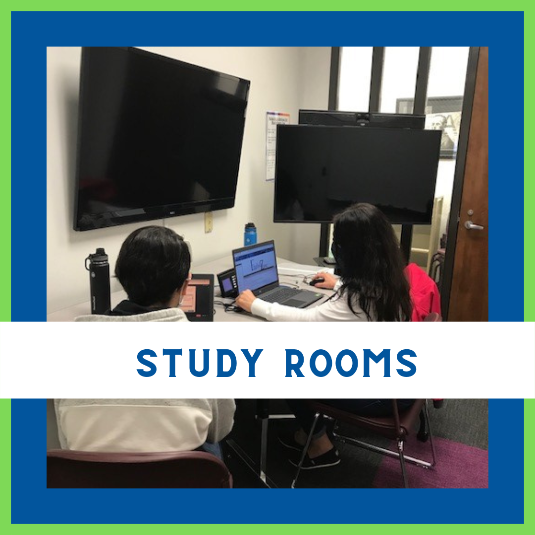 image of two students in study room with words