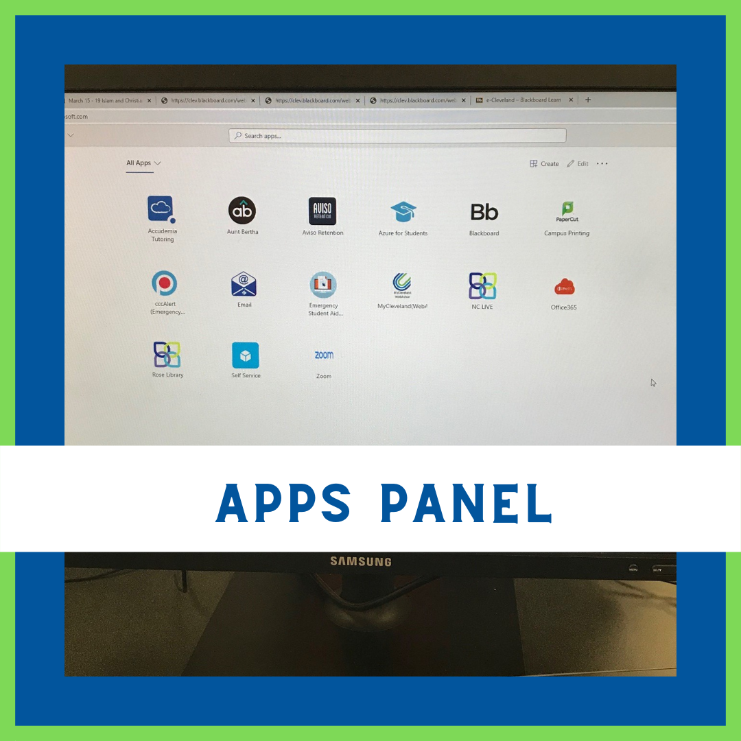 image of apps panel for student on computer monitor