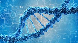 DNA double helix on blue background