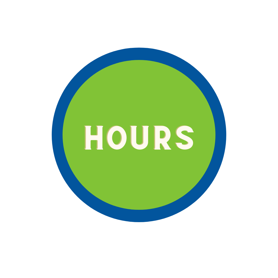 """green circle with blue trim with word """"Hours"""""""