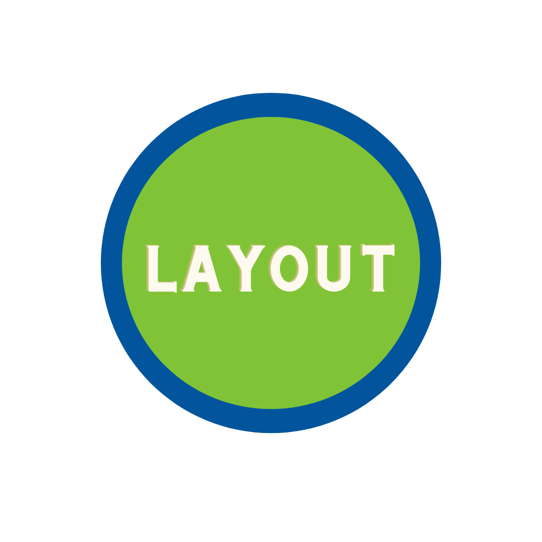 """green circle with blue trim with word """"Layout"""""""