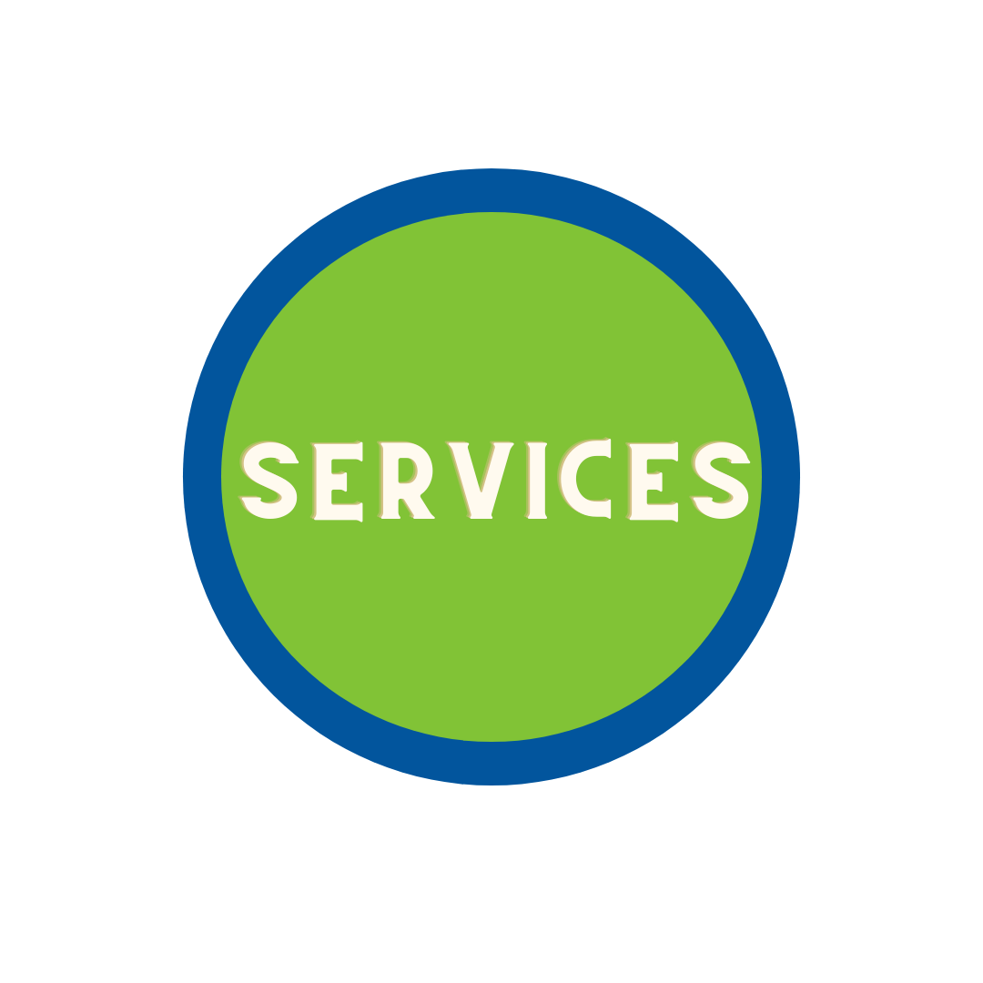 """green circle with blue trim with word """"Services"""""""