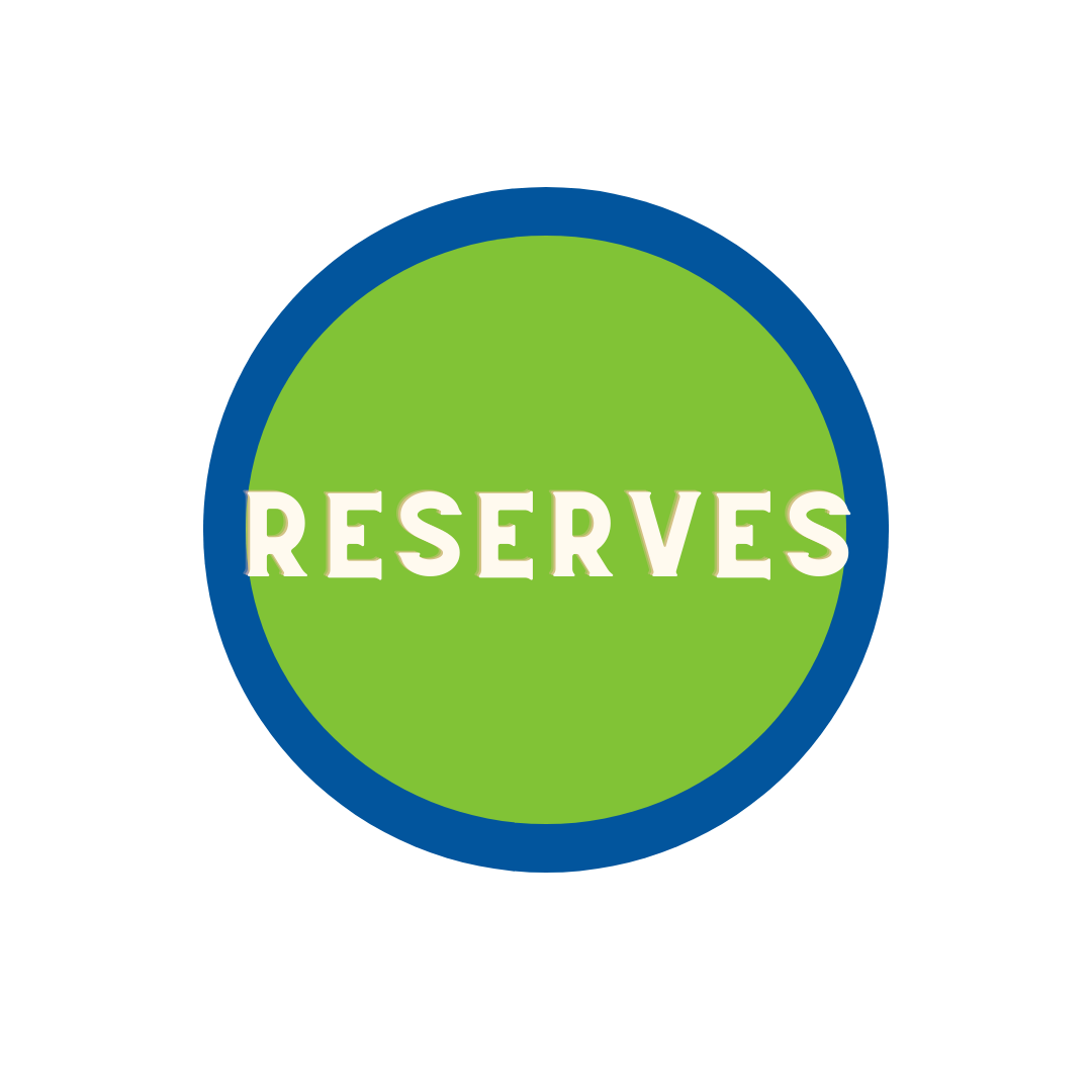 """green circle with blue trim with word """"Reserves"""""""