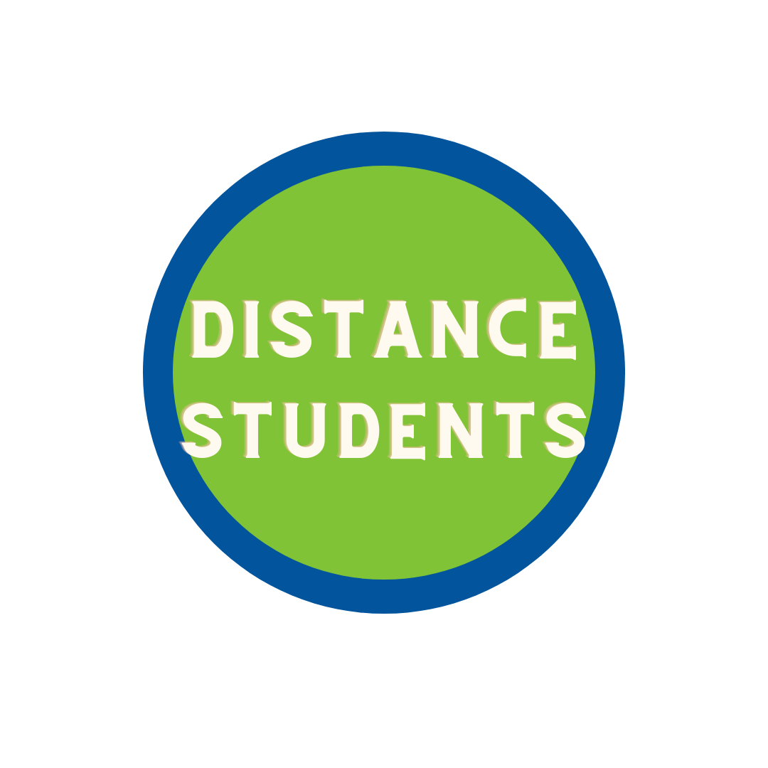 """green circle with blue trim with the words """"Distance Students"""""""